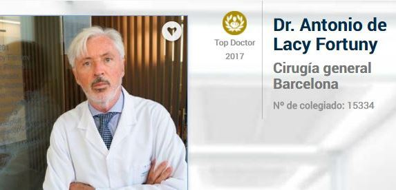 Dr. Antonio de Lacy. Top Doctors Awards 2017