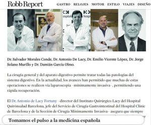 evista Robb Reportaje sobre los mejores cirujanos de España