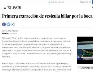 2007-11-15. El País. Primera extracción de la vesícula biliar por la boca