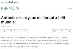 2013-08-15. ARA Balears. Antonio de Lacy, un mallorquí a l elit mundial