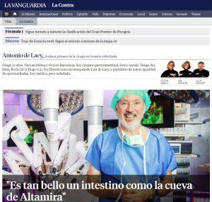 2014-11-22. La Contra de La Vanguardia. Antonio de Lacy, cirujano, pionero de la cirugía no invasiva robotizada