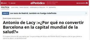 2015-05-09. El Periódico. Por qué no convertir Barcelona en la capital mundial de la salud