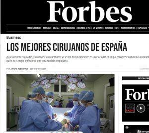 2017-12-16. Forbes. El Dr. de Lacy entre los mejores cirujanos de España