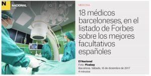 2017-12-16. Nacional.CAT. 18 médicos barceloneses, en el listado de Forbes sobre los mejores facultativos españoles