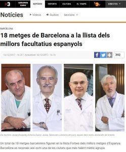 2017-12-16. TV3- 18 metges de Barcelona a la llista dels millors facultatius espanyols