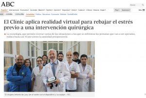 2018-01-09. ABC. El Clinic aplica realidad virtual para rebajar el estrés posteratorio