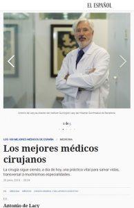 2018-06-20. El Español. El Dr. de Lacy entre los mejores cirujano de España