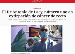 2018-07-24. Cronica Global. El Dr Antonio de Lacy, número uno en extirpación de cáncer de recto