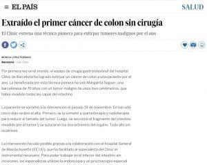 2009-12-01. El País. Extraído el primer cáncer de colon sin cirugía