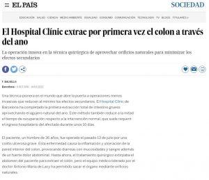 2011-10-06. El País. El Hospital Clínic extrae por primera vez el colon a través del ano