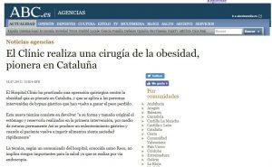 2013-10-06. ABC. El Hospital Clínic ha practicado una operación quirúrgica contra la obesidad que es pionera en Cataluña