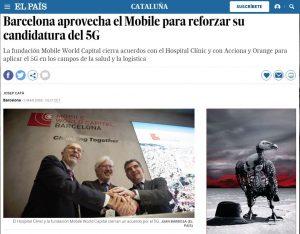 2018-03-01. El País. Barcelona aprovecha el Mobile para reforzar su candidatura del 5G
