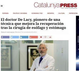 2018-11-121. Catalunya Press. El Dr. de Lacy pionero en una técnica de la cirugía del esófago