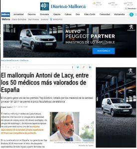 2018-11-15. Diario de Mallorca. El Dr. Antonio de Lacy entre los 50 mejores médicos de España