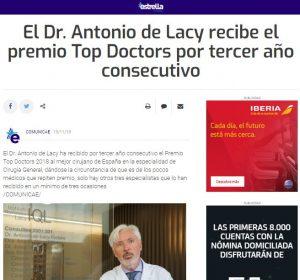 2018-11-15. Estrella Digital. El Dr. Antonio de Lacy recibe el Premio Top Doctors 2018