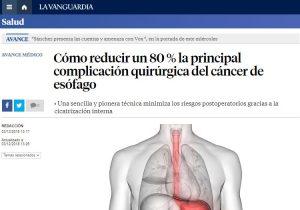 2018-12-03. La Vanguardia. Verde de indocianina en el cáncer de esófago