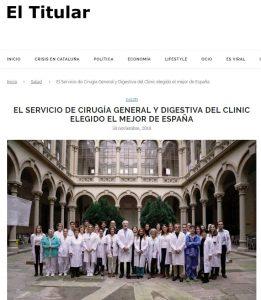 2018-30-11. El Titular. El mejor Servicio de Cirugía General y Digestiva de España