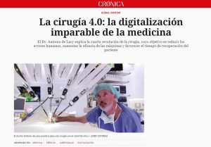 2019-01-21. Crónica Global. La cirugía 4.0 la digitalización imparable de la medicina