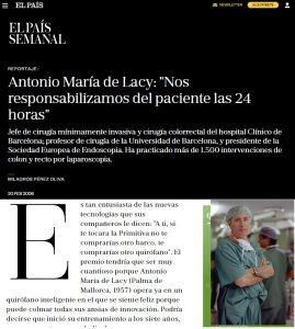 2006-02-20. El País Semanal. Antonio María de Lacy. Nos responsabilizamos del paciente las 24 horas