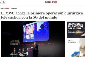 2019-02-27. Europa Press. El MWC acoge la primera operación quirúrgica teleasistida con la 5G del mundo