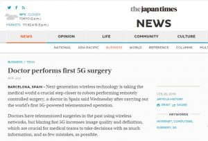 2019-02-27. The Japan Times. Doctor performs first 5G surgery