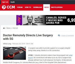 2019-02-28. CMM. Doctor Remotely Directs Live Surgery with 5G