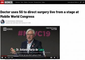 2019-02-27. CNN. Un médico usa 5G para dirigir una cirugía en vivo desde un evento del Mobile World Congress